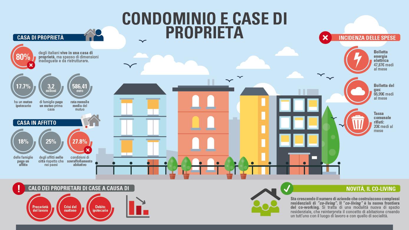 Infografiche case e condimini proprietà e affitto